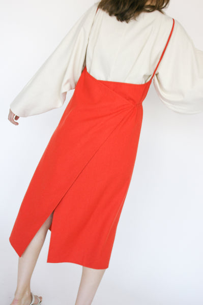 Baserange Yumi Apron Dress Linen/Cotton in Fire Red on model view back