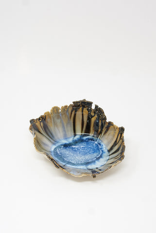 Minh Singer Medium Amorphous Iceland Shell in Blues with Metallic Crust