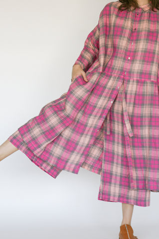 Ichi Antiquites Pant in Tartan Check Pink on model view front