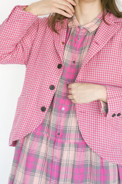Ichi Antiquites Jacket in Gingham Pink on model view front