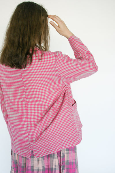 Ichi Antiquites Jacket in Gingham Pink on model view back