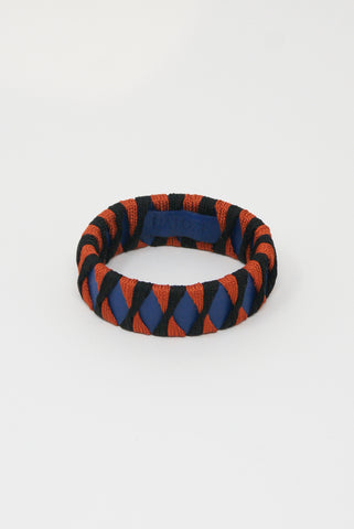 Hatori Leather Bangle in Cobalto x Black + Amaranto