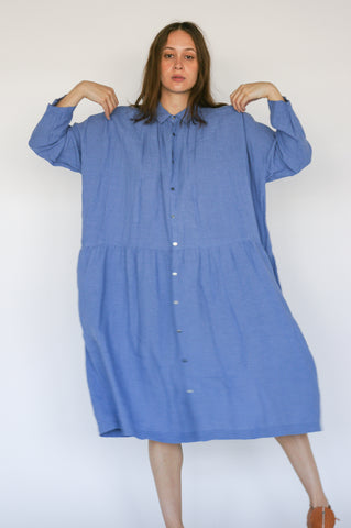 Ichi Antiquites Dress in Periwinkle on model view front
