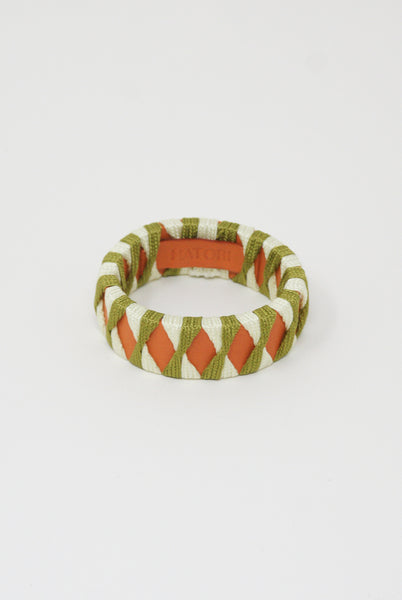 Hatori Leather Bangle in Orange x Grass Green + White Lime Green