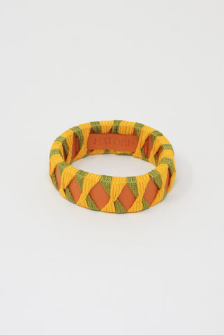 Hatori Leather Bangle in Orange x Yellow + Grass Green