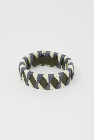 Hatori Leather Bangle in Weed x Silver Purple + White Lime Green