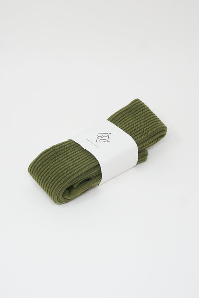Baserange Overknee Socks - Cotton Rib in Maple Green