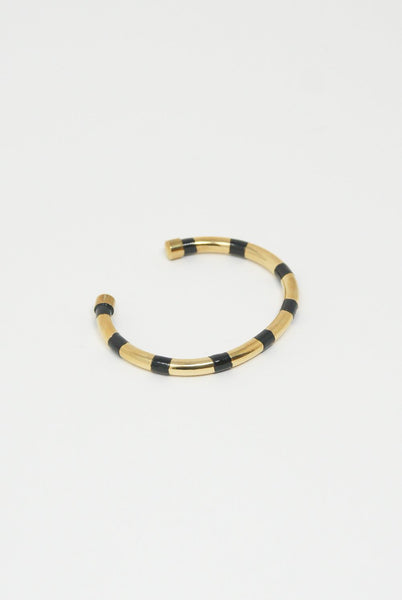 Abby Carnevale Striped Cuff in 14K Gold Plated Brass - Black