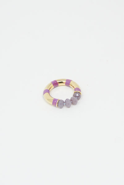 Abby Carnevale Striped Ring with Beads in Purple top view