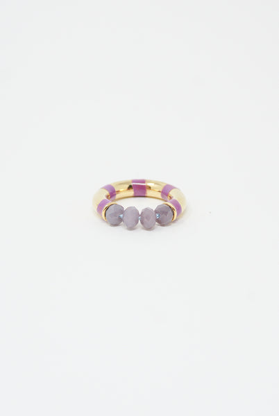 Abby Carnevale Striped Ring with Beads in Purple side view