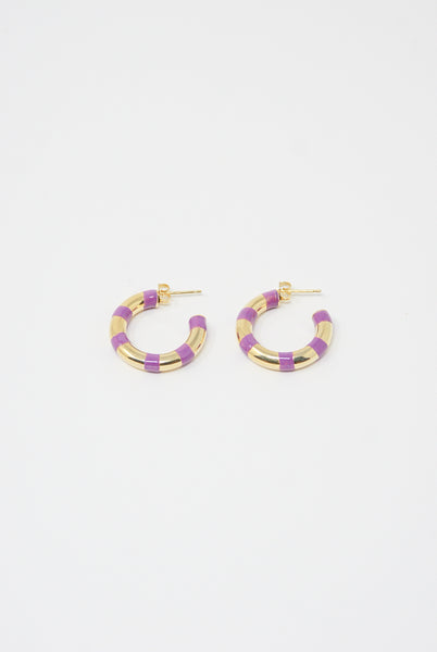 Abby Carnevale Striped Hoops in Purple