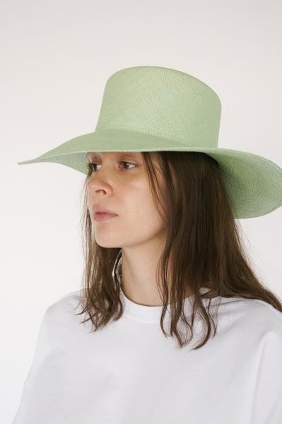 Clyde Pearl Hat in Honeydew on model view side