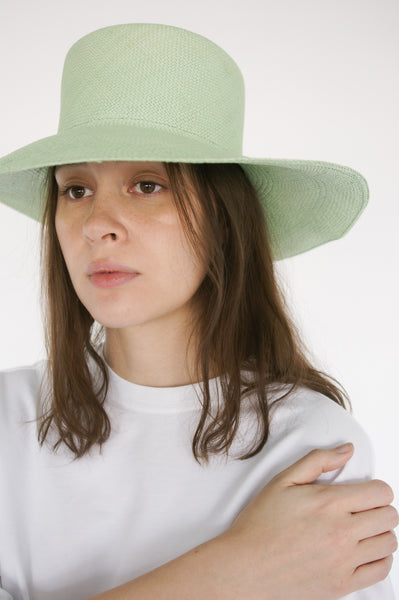 Clyde Pearl Hat in Honeydew on model view front
