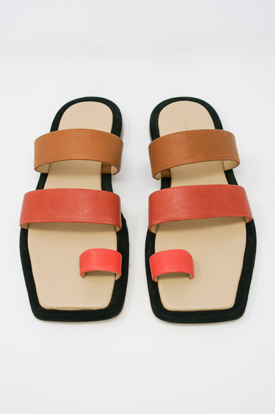 Rejina Pyo Larissa Sandal in Leather Trio Rosso front view