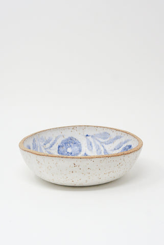 Michelle Blade Shallow Soup Bowl in Speckled White & Blue side view