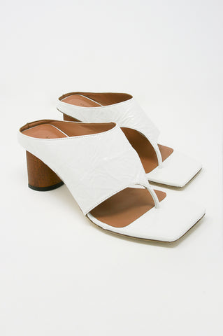 Rejina Pyo Lina Sandal in Leather Crinkle White diagonal front view