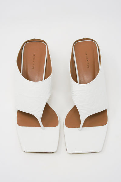 Rejina Pyo Lina Sandal in Leather Crinkle White front view
