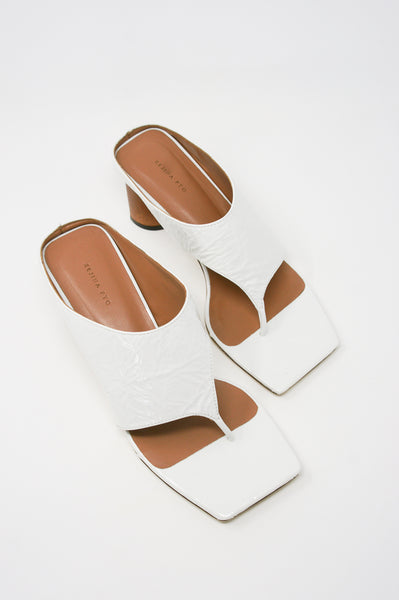 Rejina Pyo Lina Sandal in Leather Crinkle White top view