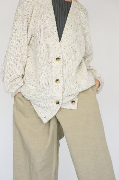 Lauren Manoogian Shaker Cardigan in Raw White Tweed on model view front