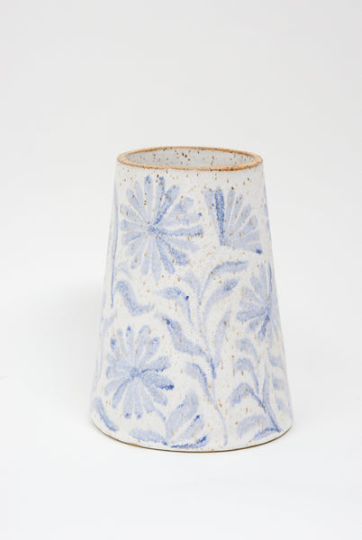 Michelle Blade Medium Cone Vase in Speckled White & Blue side view