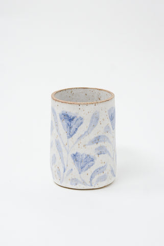 Michelle Blade Tall Cup in Speckled White & Blue side view