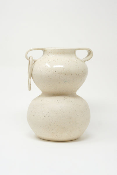 Lost Quarry Arches No. 00076 Large Stacked Vessel with Ring in Speckle White Clay front view