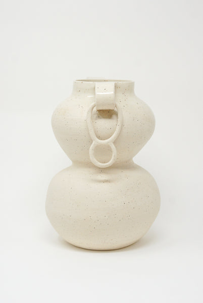 Lost Quarry Arches No. 00076 Large Stacked Vessel with Ring in Speckle White Clay side view