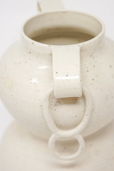 Lost Quarry Arches No. 00076 Large Stacked Vessel with Ring in Speckle White Clay detail view