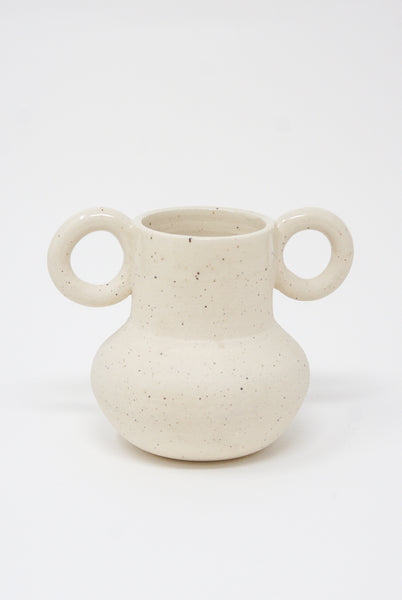 Lost Quarry Hand Built No. 00083 - Small Circular Handles in Speckle White Clay front view