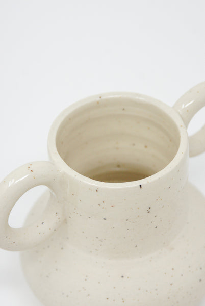 Lost Quarry Hand Built No. 00083 - Small Circular Handles in Speckle White Clay detail view