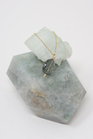 Mary MacGill Stone Drop Necklace in Moss Aquamarine