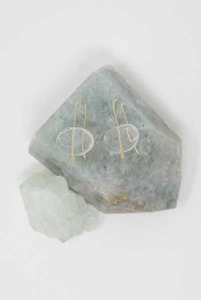 Mary MacGill Stone Drop Earrings in Clear Quartz