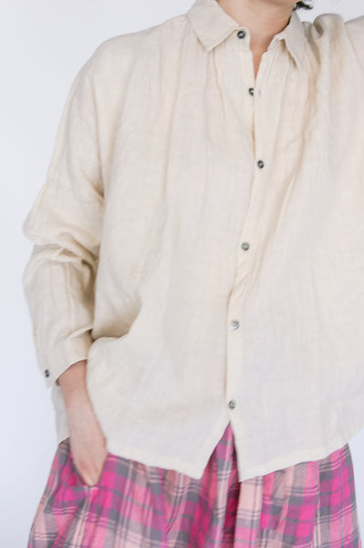 Ichi Antiquites Shirt in Cream on model view front