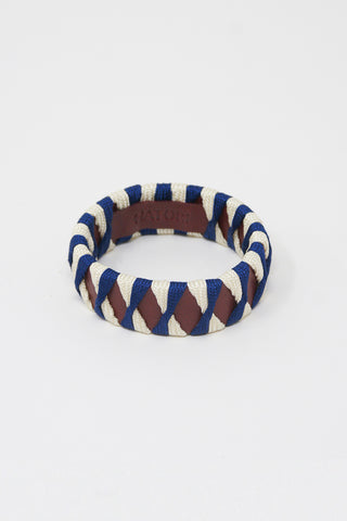 Hatori Leather Bangle in Amaranto x Cobalto + Cream