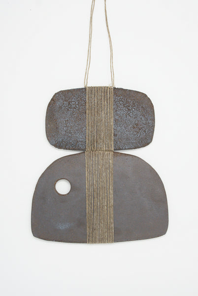 Amy Dov Clay and Linen Wall Hanging in Dark Brown