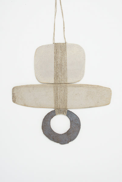 Amy Dov Clay and Linen Wall Hanging in Natural and Dark Brown