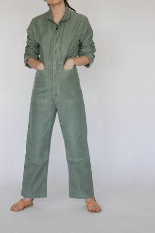 Caron Callahan Fincher Jumpsuit - Pigment Dyed Cotton Twill in Sage on model view front