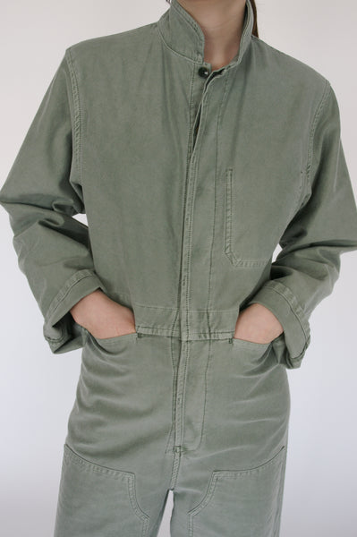 Caron Callahan Fincher Jumpsuit - Pigment Dyed Cotton Twill in Sage pocket detail view