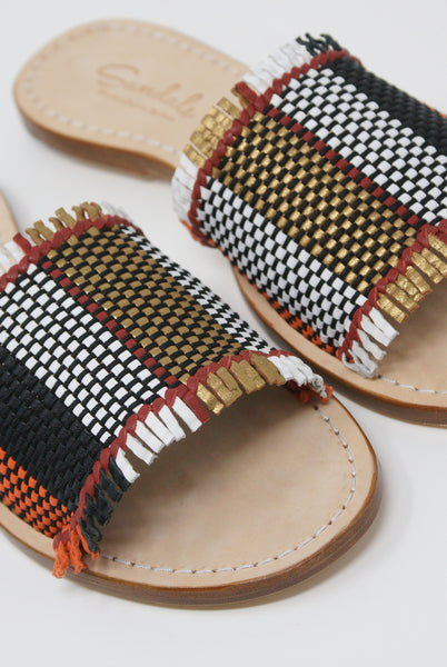 Dragon Diffusion Multi-Fringe Sandal in Multi woven detail view