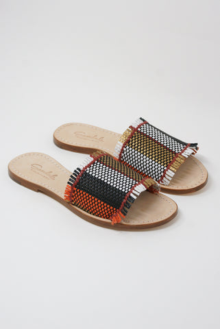 Dragon Diffusion Multi-Fringe Sandal in Multi diagonal front view