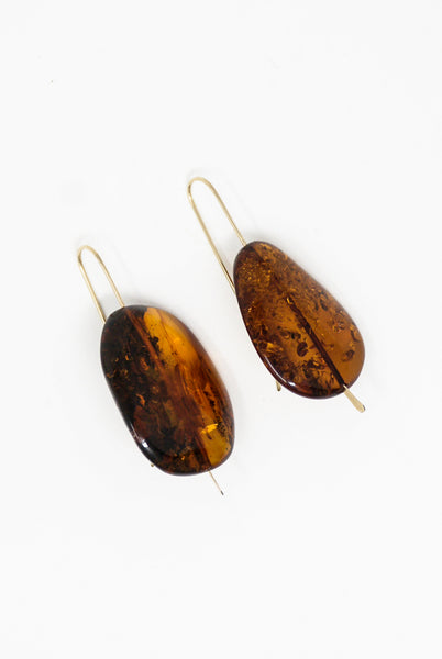 Mary MacGill Stone Drop Earrings - Large in Red Amber