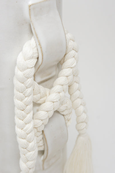 Karen Tinney Vase #696 in White braid detail view