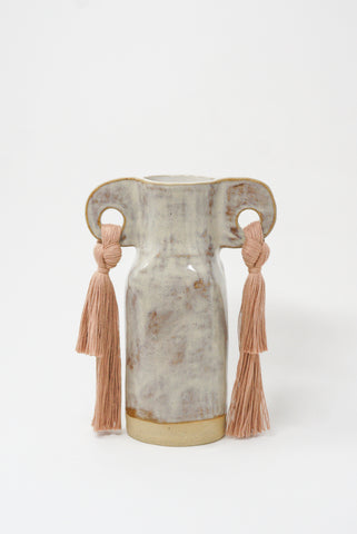 Karen Tinney Vase #606 in Gray/Blush front view
