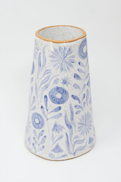 Michelle Blade Tall Cone Vase in Speckled White & Blue front view