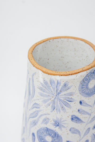 Michelle Blade Tall Cone Vase in Speckled White & Blue detail view