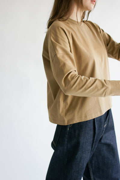 Studio Nicholson Loop Long Sleeve T-Shirt in Tan on model view side