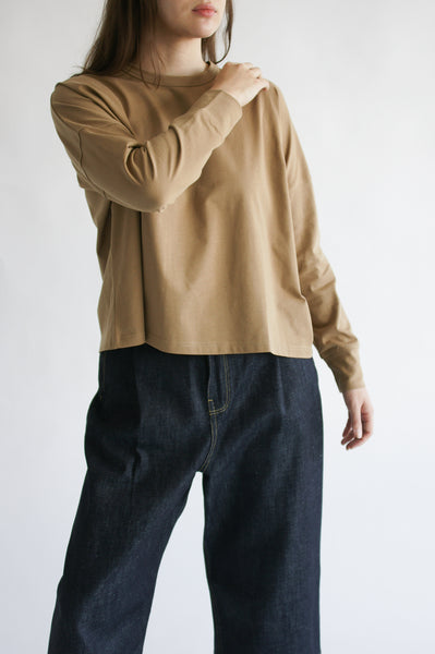 Studio Nicholson Loop Long Sleeve T-Shirt in Tan on model view front