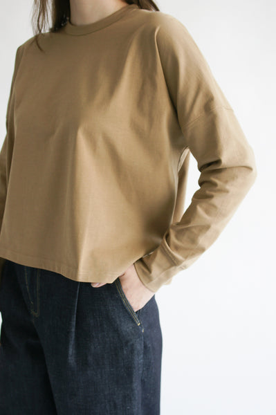 Studio Nicholson Loop Long Sleeve T-Shirt in Tan sleeve detail view