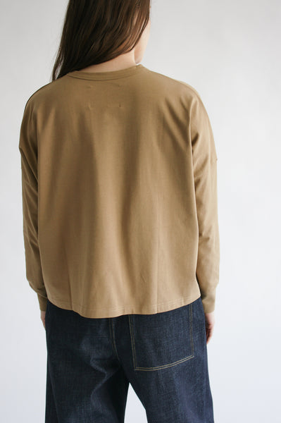 Studio Nicholson Loop Long Sleeve T-Shirt in Tan on model view back