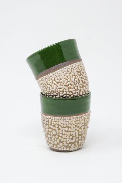 Raina Lee Tea Cup in Green + Texture front view
